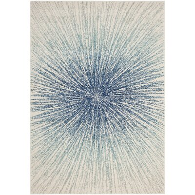 Cybil Royal/Ivory Area Rug Rug Size: Square 9