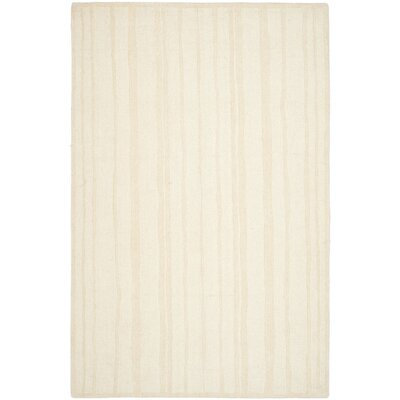 Freehand Stripe Hand-Loomed Fossil Area Rug Rug Size: Round 4 x 4