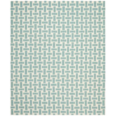 Masaryktown Hand-Woven Turquoise & Ivory Area Rug Rug Size: Rectangle 2'6