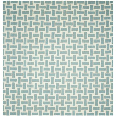 Masaryktown Hand-Woven Turquoise & Ivory Area Rug Rug Size: Square 8 x 8