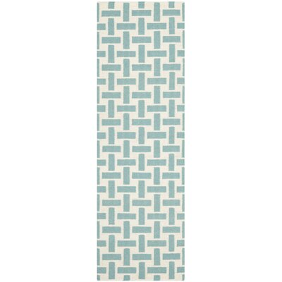 Masaryktown Hand-Woven Turquoise & Ivory Area Rug Rug Size: Runner 26 x 6