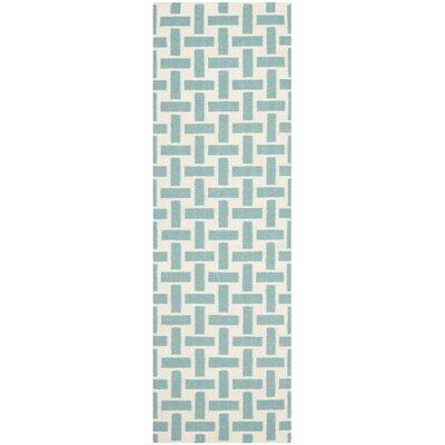Masaryktown Handmade Turquoise/Ivory Area Rug Rug Size: Runner 26 x 8