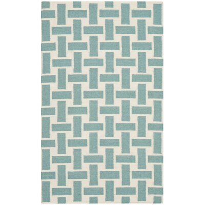 Masaryktown Hand-Woven Wool Turquoise/Ivory Area Rug Rug Size: Rectangle 8 x 10