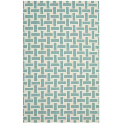 Masaryktown Handmade Turquoise/Ivory Area Rug Rug Size: 5 x 8