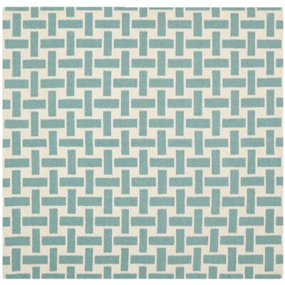 Masaryktown Hand-Woven Wool Turquoise/Ivory Area Rug Rug Size: Square 6 x 6