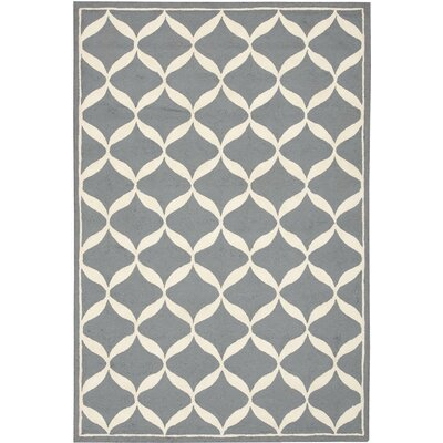 Sidonie Hand-Tufted Slate/White Area Rug Rug Size: Rectangle 26 x 310
