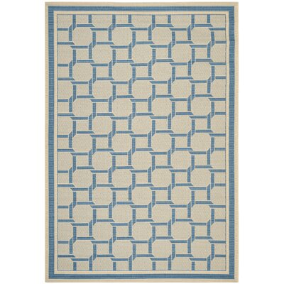 Resort Cream / Blue Area Rug Rug Size: Rectangle 67 x 96