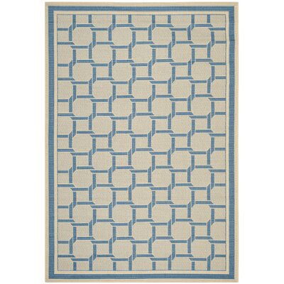 Resort Cream / Blue Area Rug Rug Size: 53 x 77