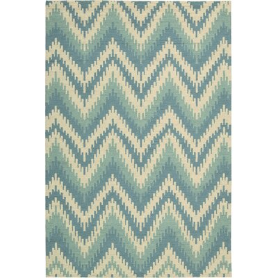 Poinciana Hand-Woven Wool Ivory/Blue Area Rug Rug Size: Rectangle 53 x 75