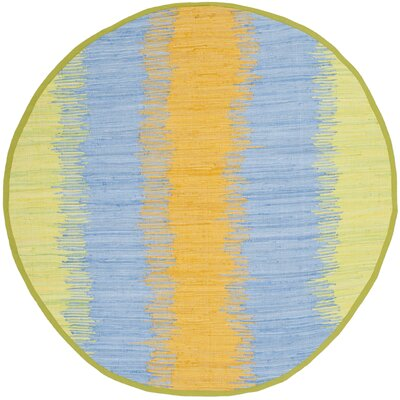 Ona Hand-Woven Green / Gold Area Rug Rug Size: Round 4