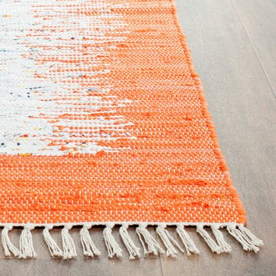Ona Hand-Woven Cotton White/Orange Area Rug Rug Size: Rectangle 6 x 9