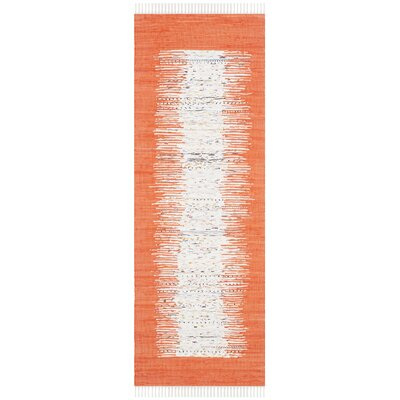 Ona Hand-Woven Cotton White/Orange Area Rug Rug Size: Runner 23 x 8