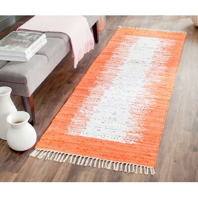 Ona Hand-Woven Cotton White/Orange Area Rug Rug Size: Runner 23 x 6