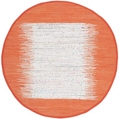 Ona Hand-Woven Cotton White/Orange Area Rug Rug Size: Round 4