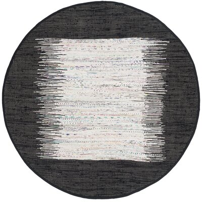Ona Hand-Woven Cotton White/Black Area Rug Rug Size: Round 4