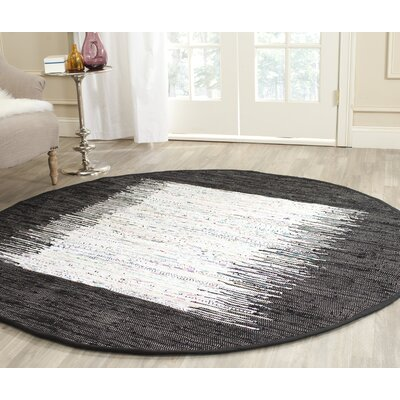 Ona Hand-Woven Cotton White/Black Area Rug Rug Size: Round 6