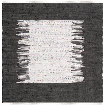 Ona Hand-Woven Cotton White/Black Area Rug Rug Size: Square 4