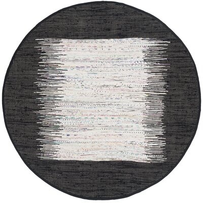 Ona Hand-Woven Ivory / Black Area Rug Rug Size: Round 4