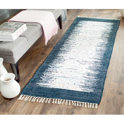 Ona Hand-Woven Cotton White/Navy Area Rug Rug Size: Runner 2'3