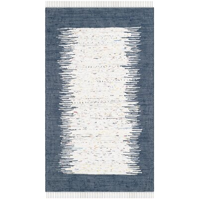 Ona Hand-Woven Cotton White/Navy Area Rug Rug Size: Rectangle 6' x 9'