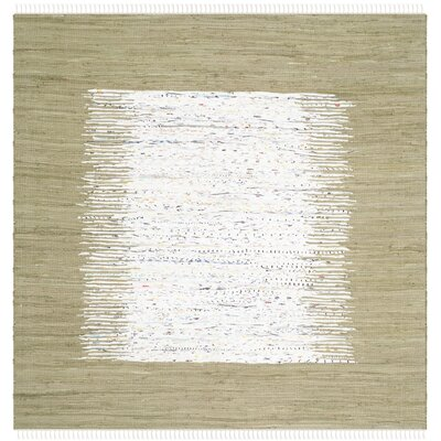 Ona Hand-Woven Ivory/Olive Area Rug Rug Size: Square 4