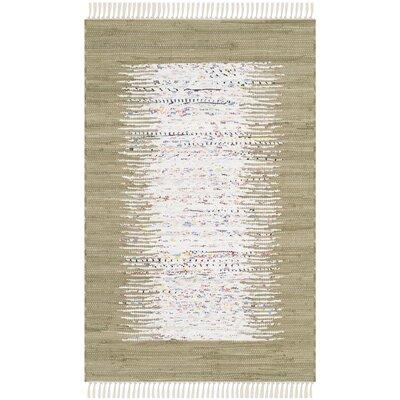 Ona Hand-Woven Ivory/Olive Area Rug Rug Size: 6 x 9
