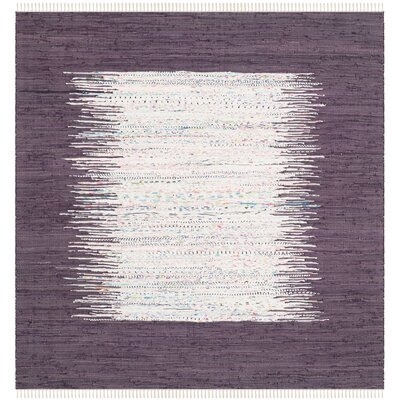 Ona Hand-Woven Cotton Purple/White Area Rug Rug Size: Square 4