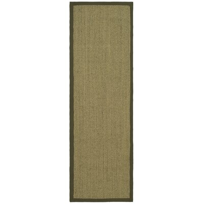 Richmond Natural/Green Rug Rug Size: Runner 26 x 8