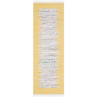Ona Hand-Woven Ivory/Yellow Area Rug Rug Size: Runner 2'3