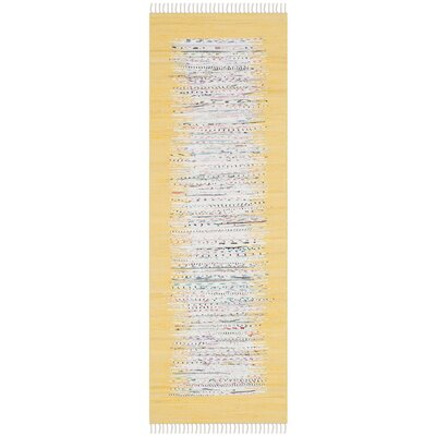 Ona Hand-Woven Ivory/Yellow Area Rug Rug Size: Runner 23 x 9
