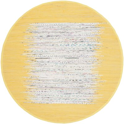 Ona Hand-Woven Cotton Ivory/Yellow Area Rug Rug Size: Round 4