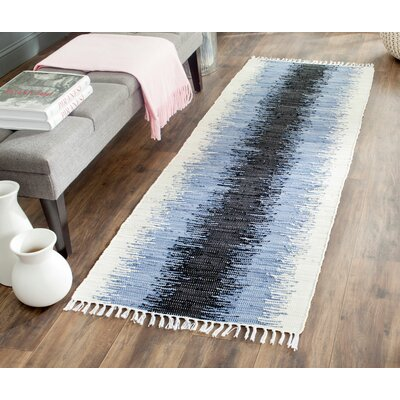 Ona Hand-Woven Grey / Black Area Rug Rug Size: Runner 23 x 6