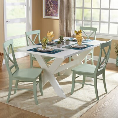 Hyannis 5 Piece Dining Set Finish: White / Mint