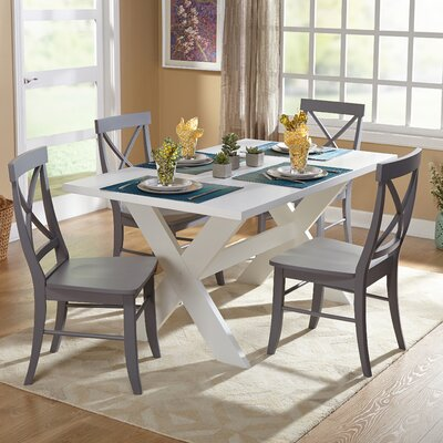 Hyannis 5 Piece Dining Set Finish: White / Grey