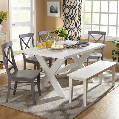 Medulla 6 Piece Dining Set Color: White/Grey