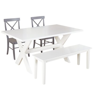 Medulla 4 Piece Dining Set Finish: White / Grey