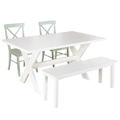 Medulla 4 Piece Dining Set Finish: White / Mint