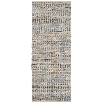 Gilchrist Hand-Woven Natural/Blue Area Rug Rug Size: Runner 23 x 8