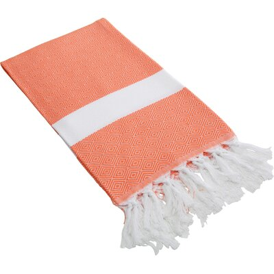 Lauderdale Diamond Weave Beach Towel Color: Orange