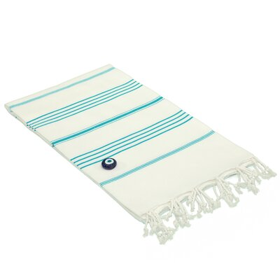 100% Turkish Cotton Pestemal/Fouta Beach Towel Color: White / Turquoise