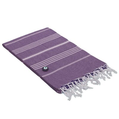 100% Turkish Cotton Pestemal/Fouta Beach Towel Color: Purple