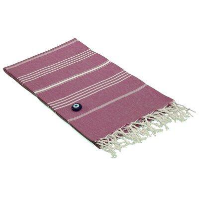 100% Turkish Cotton Pestemal/Fouta Beach Towel Color: Red Violet