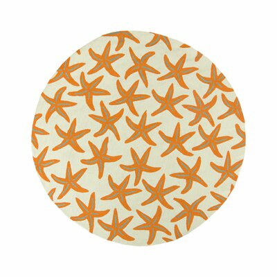 Solana Orange/Beige Indoor/Outdoor Area Rug Rug Size: Round 8