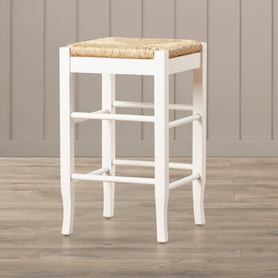 Hogan 24 Bar Stool with Cushion Finish: White