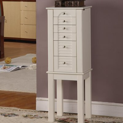 Glouster Jewelry Armoire with Mirror in White