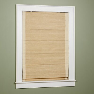 Woven Cane Paper Roman Shade Size: 27 W x 63 L, Color: Natural with Sand Border