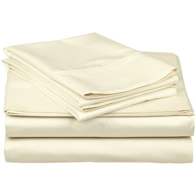 Surratt 500 Thread Count 100% Cotton Sheet Set Size: Queen, Color: Ivory