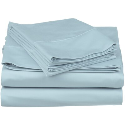 Surratt 500 Thread Count 100% Cotton Sheet Set Color: Light Blue, Size: Queen