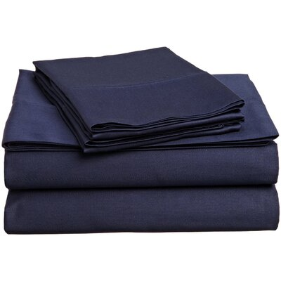 Surratt 500 Thread Count 100% Cotton Sheet Set Color: Navy Blue, Size: Full