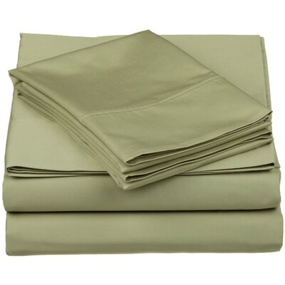 Surratt 500 Thread Count 100% Cotton Sheet Set Color: Sage, Size: Extra-Long Twin